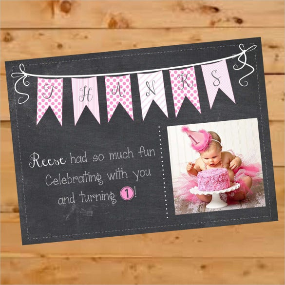 chalkboard first birthday thank you postcard