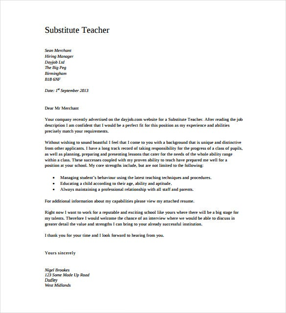 Substitute Teacher Cover Letter PDF Format Free Download  Free Cover Letter Downloads