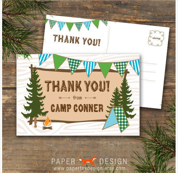 camp theme printable thank you postcard