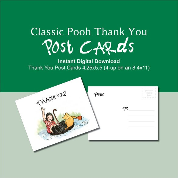 green classic winnie the pooh thank you postcard