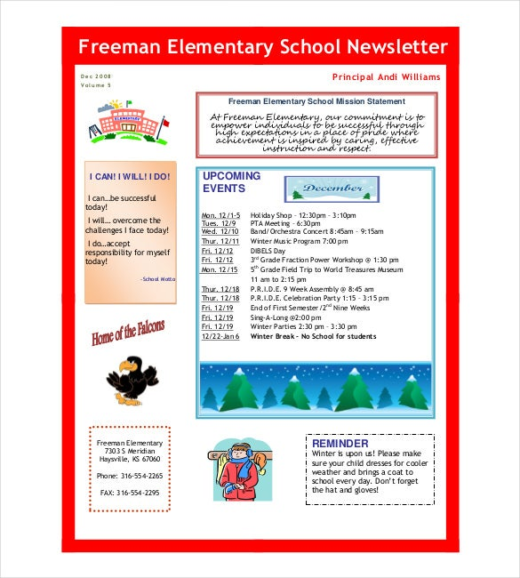 freeman elementary school newsletter