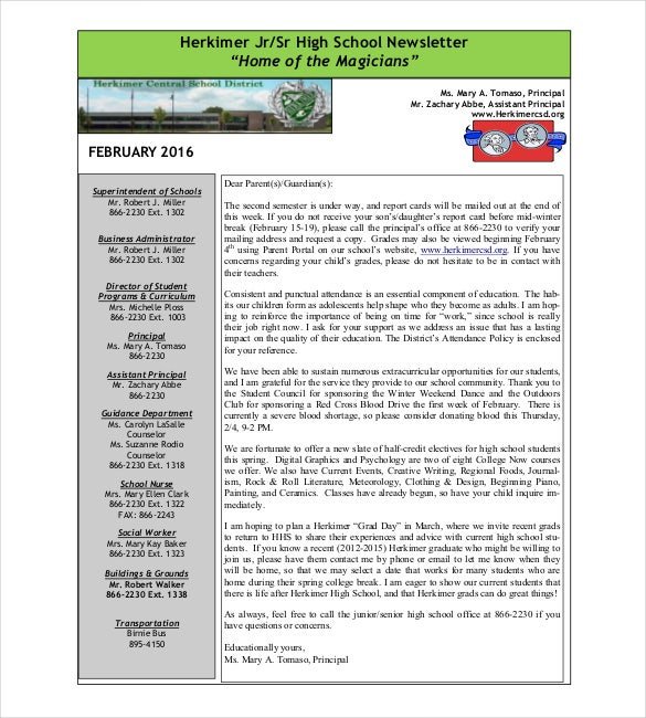 junior senior high school newsleter pdf