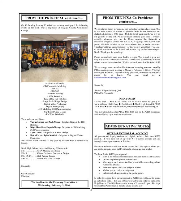 north high school template pdf file