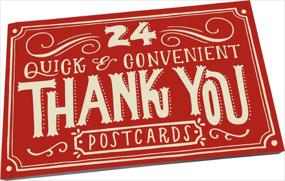 red colour quick and editable thank you postcard
