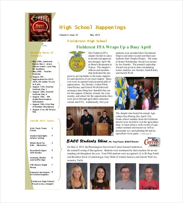 school newsletter template pdf format download