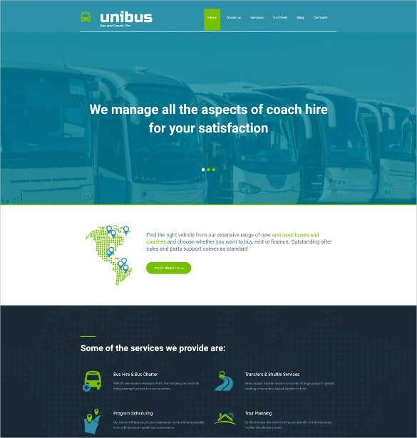 bus company moto cms 3 blog template
