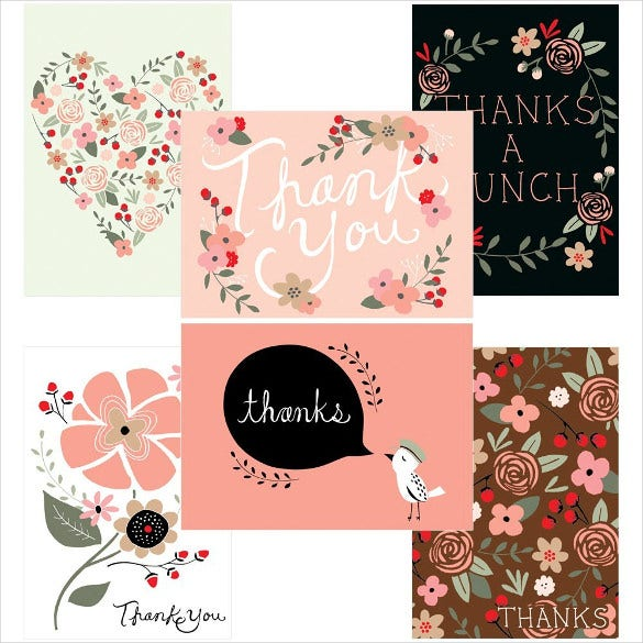 colourful elegant thank you postcard template
