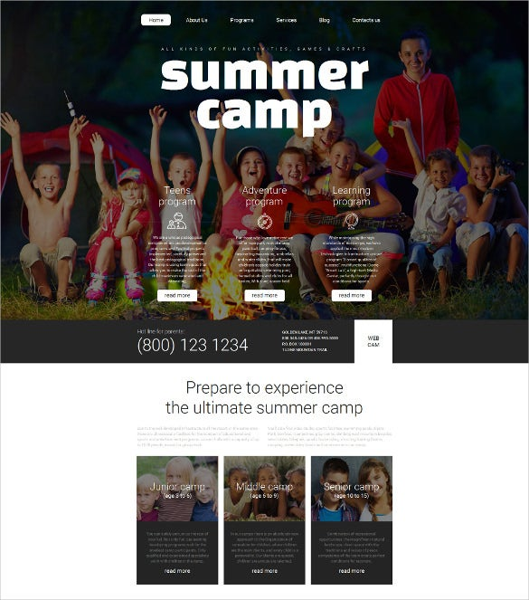 summer camp responsive moto cms 3 blog template