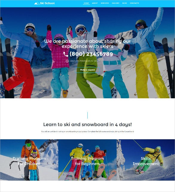 skiing responsive moto cms 3 blog template