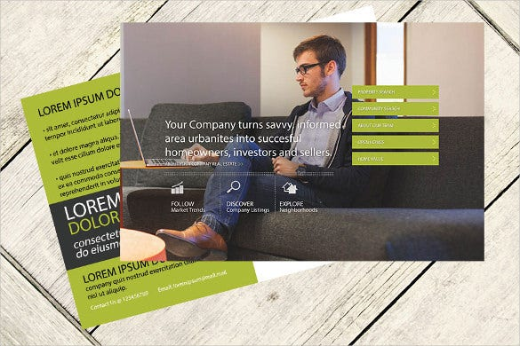 green real estate postcard template