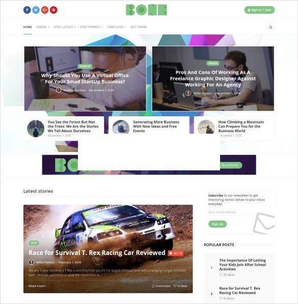 bone modern publication blog theme