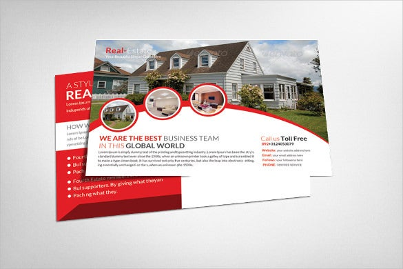 real estate postcard template in 3 variants