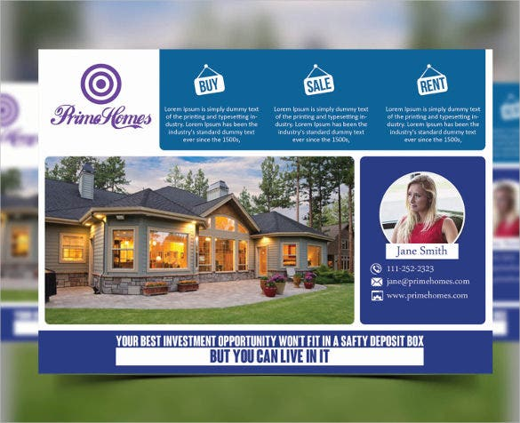 instant download real estate advertising postcard template