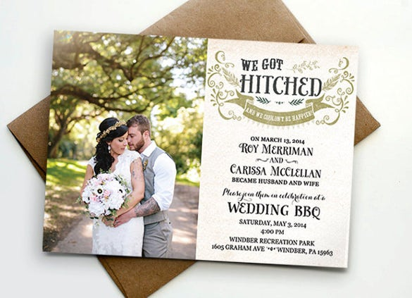 Photo wedding invitation 16 psd jpg indesign format download for those who want to get married in a very private and intimate ceremony and invite your family and friends post the wedding ceremony here is wedding stopboris