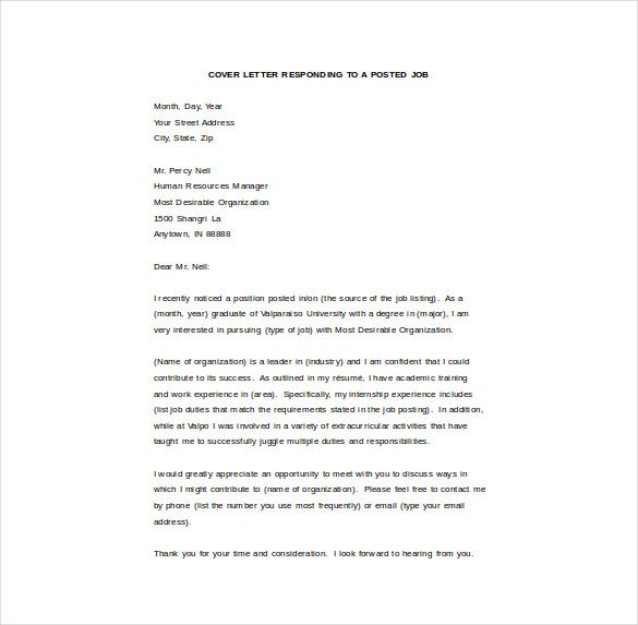 covering letter in word format