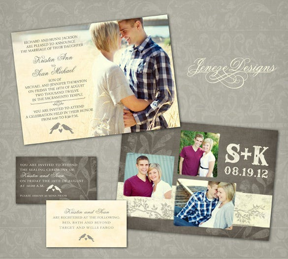 custom photo wedding invitation set