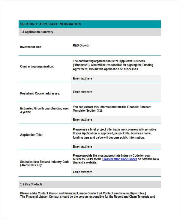 Growth Grant Application Template