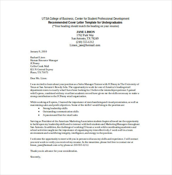 retail sales cover letter word template free download - Cover Letters Samples Free