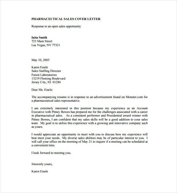 Sample Pharmaceutical Sales Cover Letter PDF Template Free Download  Best Sales Cover Letter