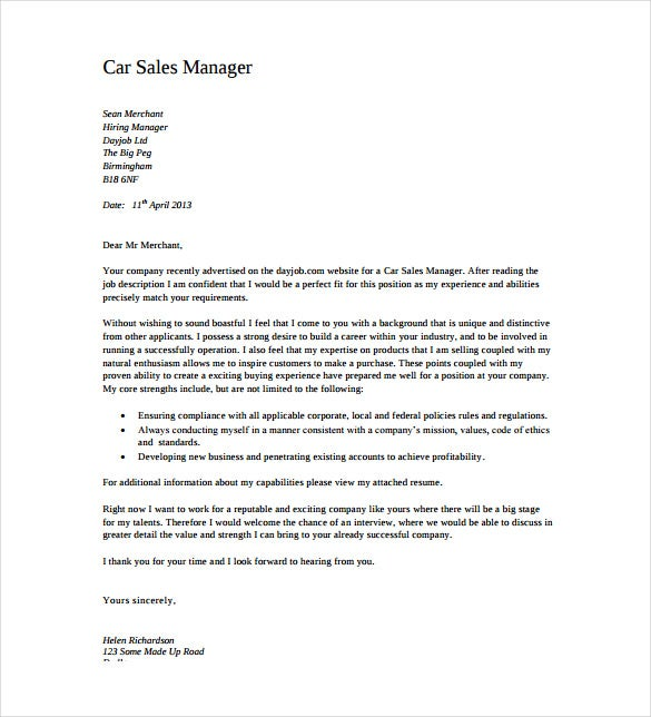 Car Sales Manager Cover Letter PDF Format Free Download