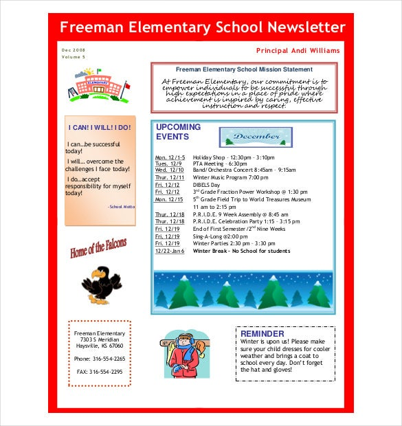 7  preschool newsletter templates