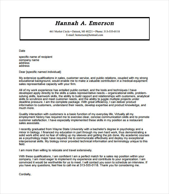 cover letter for sales representative