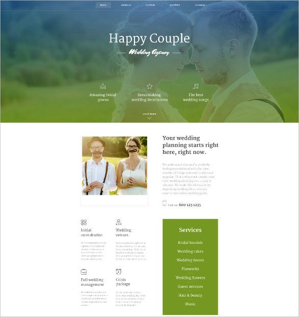 happy couple website html5 theme