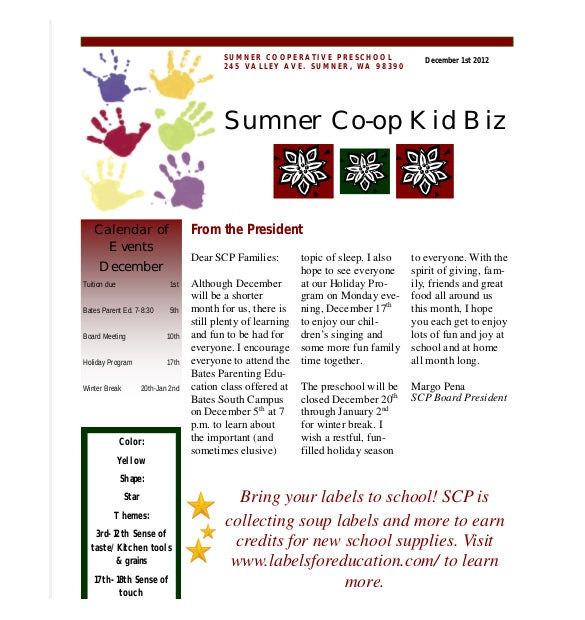 weekly preschool newsletter template