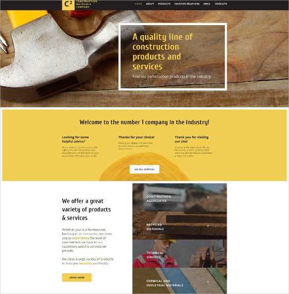 construction materials company website html5 theme