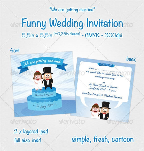 20 funny wedding invitation templates free sample example format blue cake funny wedding invitation stopboris Choice Image