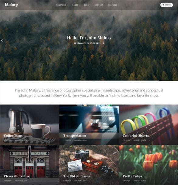 malory photography magazine wordpress html5 theme