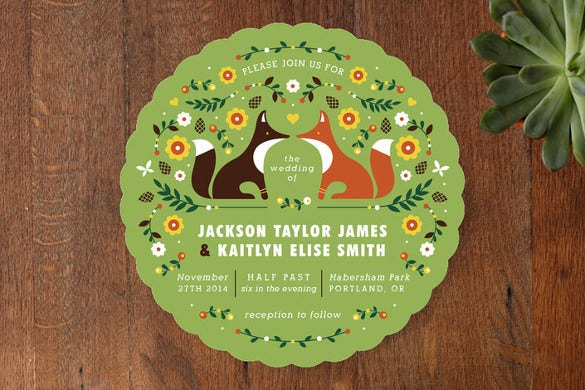 woodland funny wedding invitation template