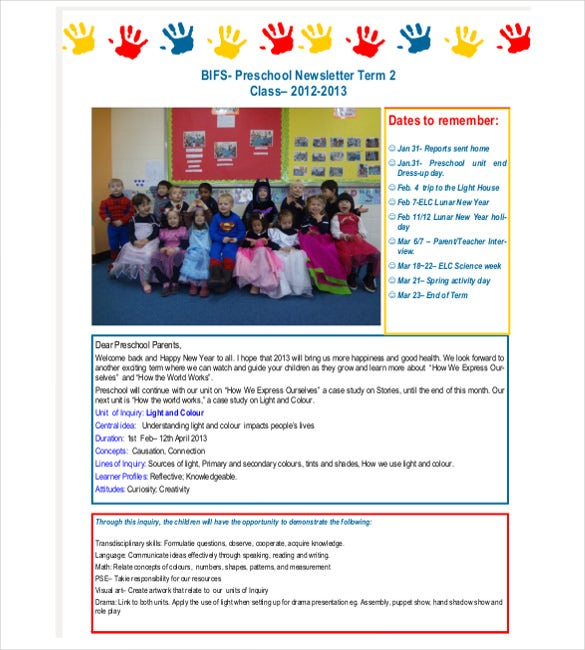 beginning of the year preschool newsletter