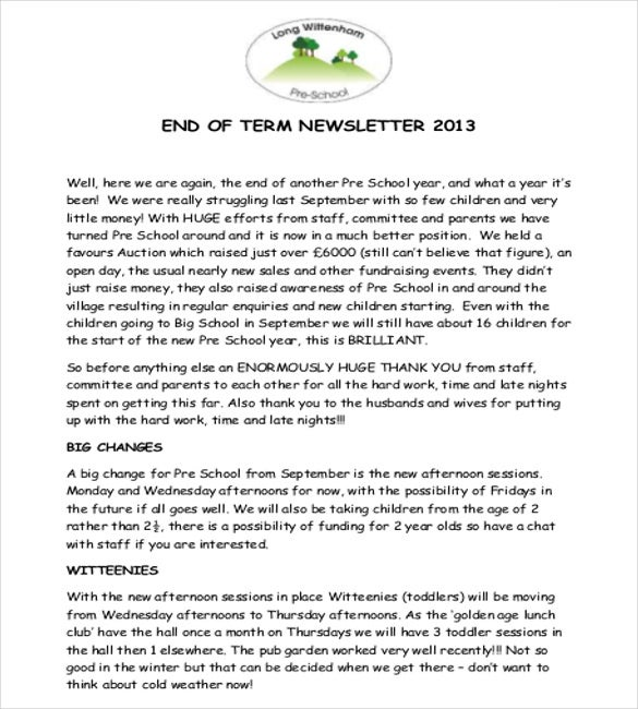 end of the year preschool newsletter