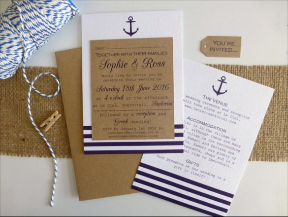 seaside rustic handmade wedding invitation