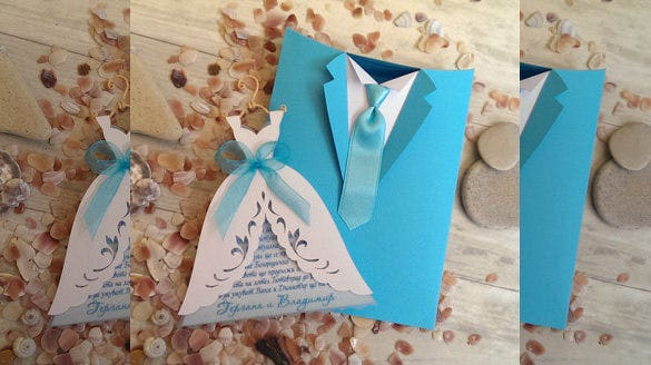groom suit handmade wedding invitations