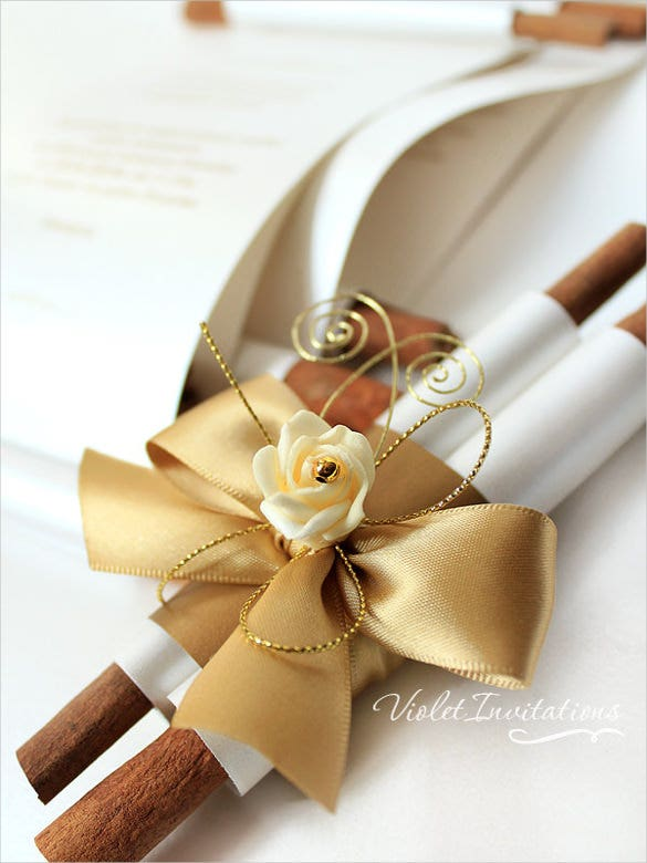 handmade gold ivory rose wedding invitation