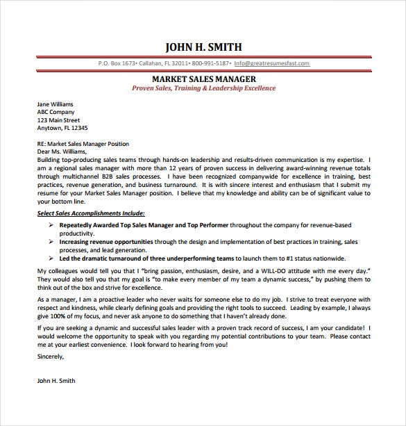 Marketing Sales Manager Cover Letter Sample PDF Template Free Download  Sales Cover Letter Template