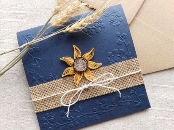 simple sunflower handmade wedding invitation template