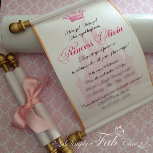 royal disney princess scroll wedding handmade invitation