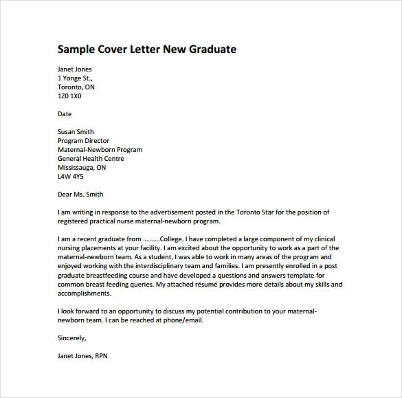 Cover Letter Sample For Nursing New Grad - Cover letter examples ...