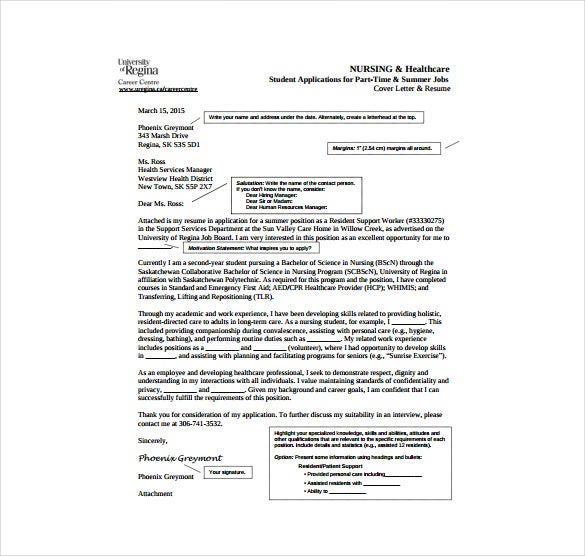 nursing health care cover letter sample pdf template free download