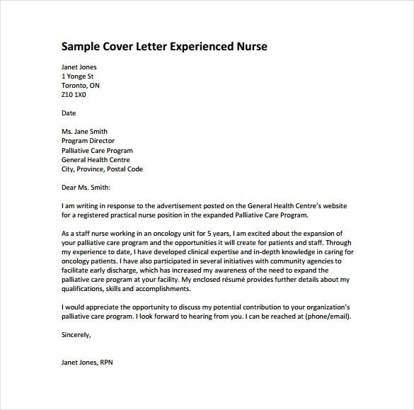 Cover Letter For Experienced Nurse Example PDF Template Free Download