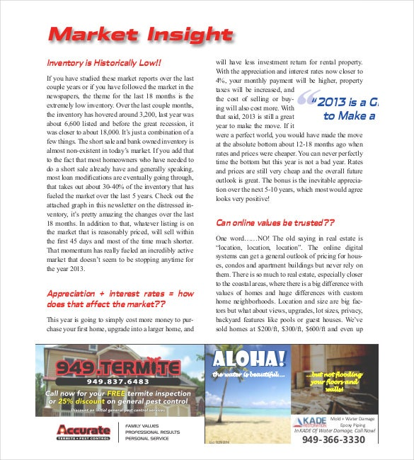 Sample Conrad Real Estate Newsletter PDF Downlaod