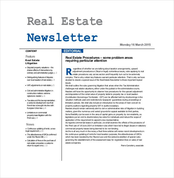 real estate newsletter pdf free download