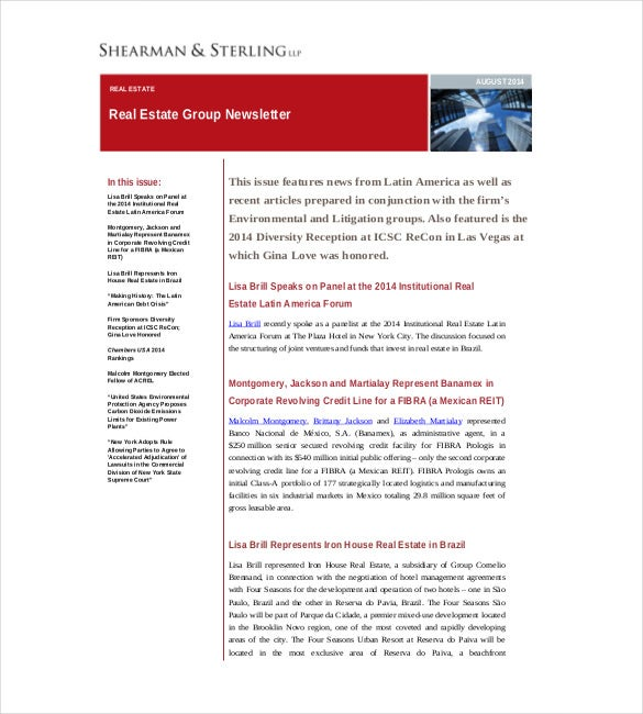 real estate newsletters marketing