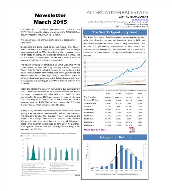 Real Estate Newsletter Templates  Free Sample Example Format