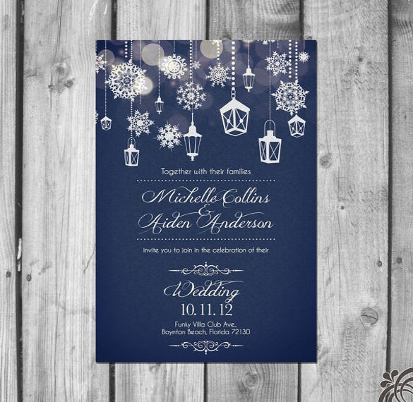 beautiful winter wedding invitation set