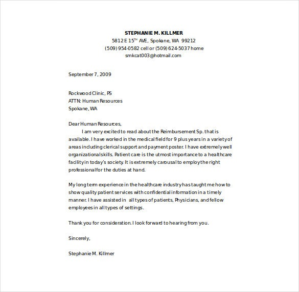 registered nursing cover letter example word template free download
