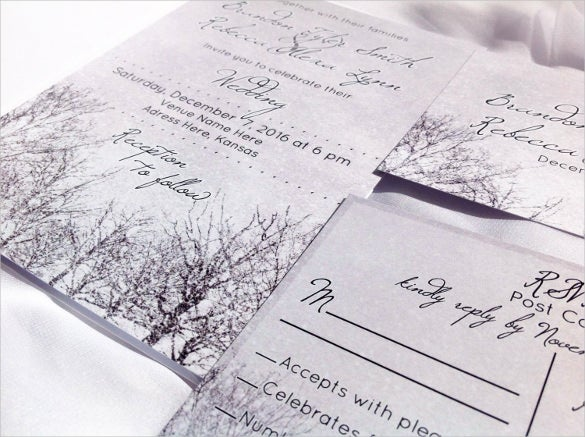 snow wedding invitation